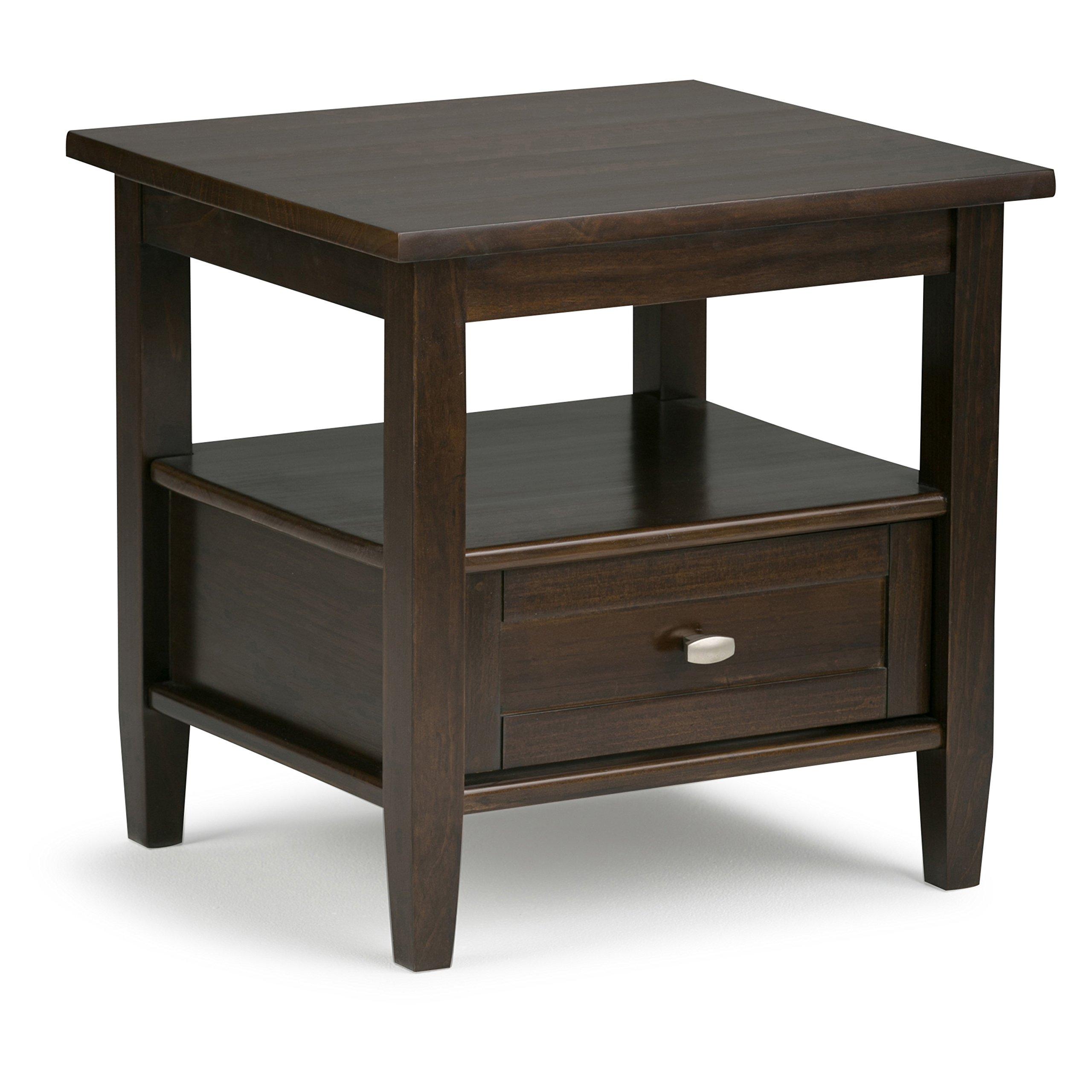 Simpli Home Warm Shaker End Side Table, Tobacco Brown