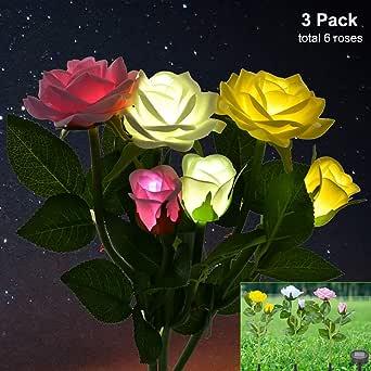 OTraki Rosas Luces Solares para Exterior Jardin, LED Decorativas Impermeable Baliza Lámpara Solar con 3 Colores 6 Flores para Césped, Patio, Caminos (Blanco + Rosa + Amarillo): Amazon.es: Iluminación