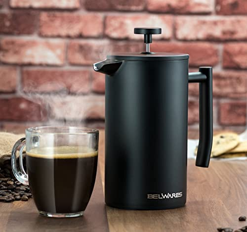 Large French Press Coffee Maker - Double Wall 304 Stainless Steel