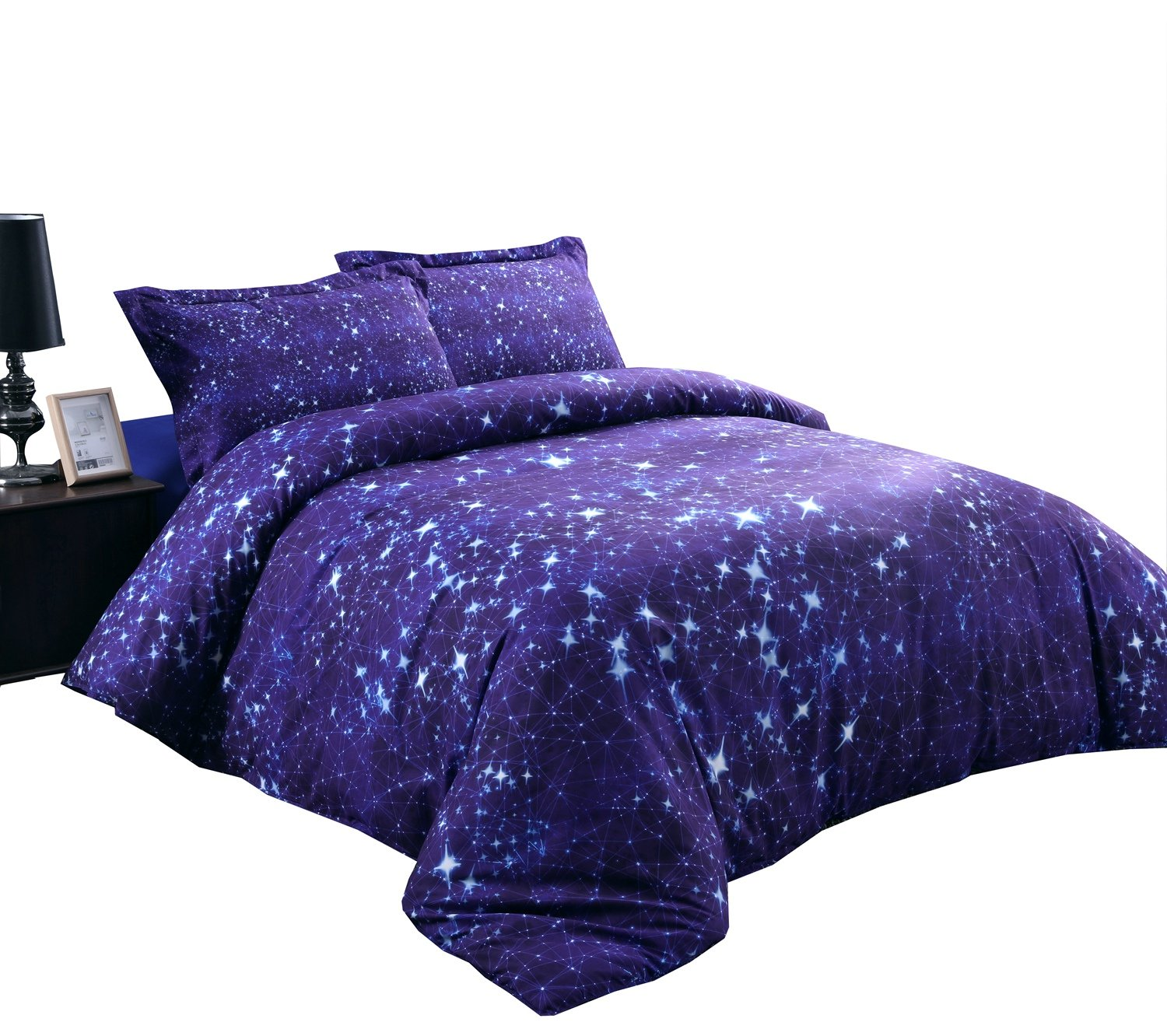 Alicemall Blue Galaxy Constellation 4-Piece Duvet Cover Sets, Super Soft Cotton and Tencel Blended Unique Galaxy Bedroom Sheets Sets, No Comforter, Twin Size College Bedding (Twin, Blue Constellation)