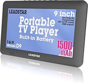 LEADSTAR 9 Inch Portable Small Digital ATSC TFT HD Screen Freeview LED TV for Car,Caravan,Camping,Outdoor or Kitchen.Built-in Battery Television/Monitor with Multimedia Player Support USB Card