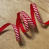 2 metres of Candy Cane Stripe Christmas Grosgrain Ribbon - red with a white diagonal stripe (6mm)