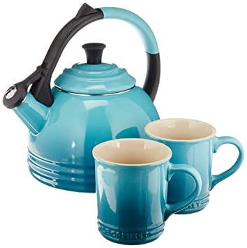 Le Creuset Enamel On Steel Kettle And Mug Gift Set, Caribbean