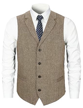STTLZMC Herren Weste Anzugweste Wolle Tweed Weste Kragenweste 2 Taschen 4 Knöpfe