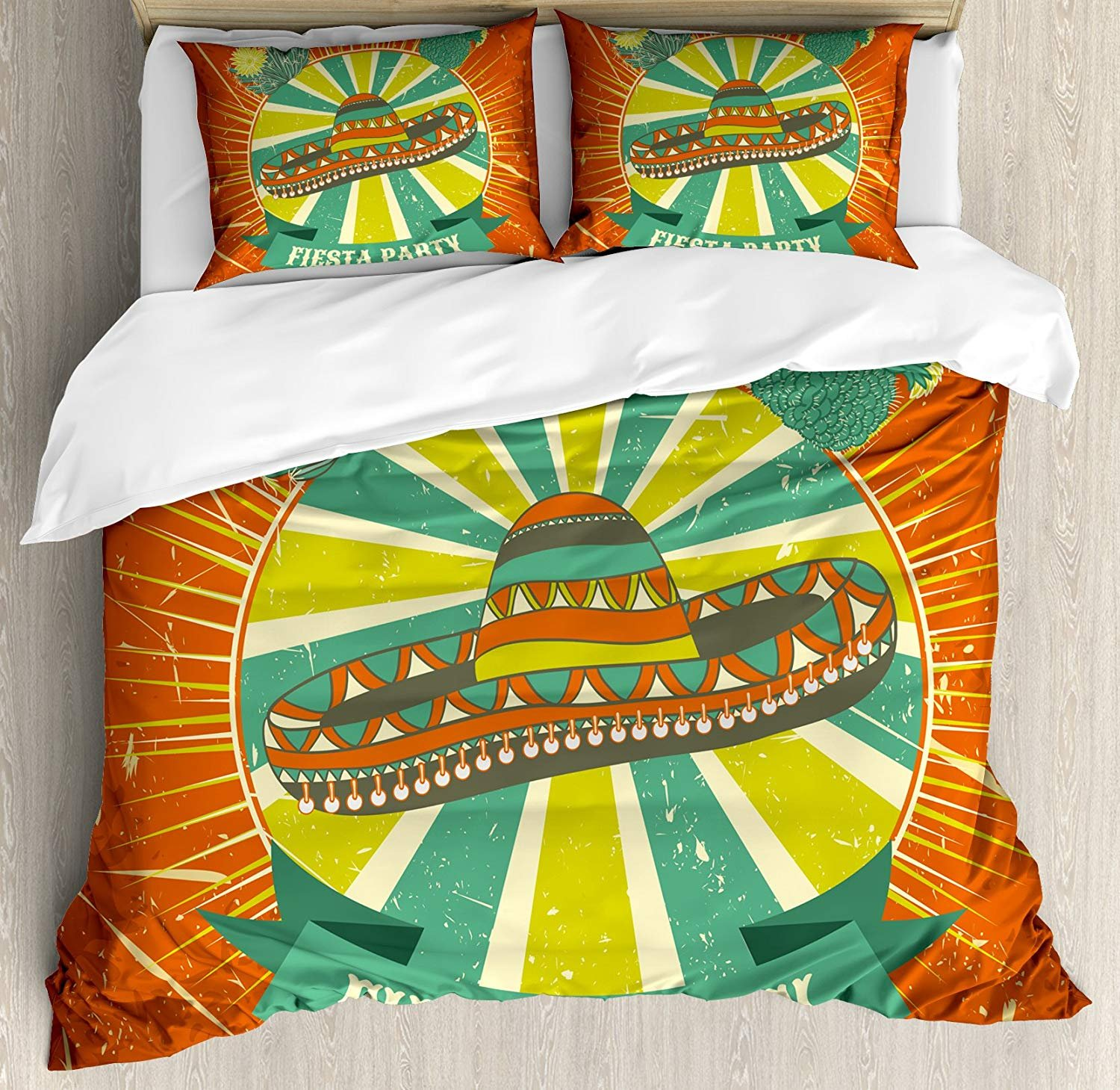Fiesta Bedding Duvet Cover Sets for Children/Adult/Kids/Teens Twin Size, Latin America Culture Inspired Ethnic Sombrero and Cactuses Worn, Hotel Luxury Decorative 4pcs Set, Orange Seafoam Yellow Green