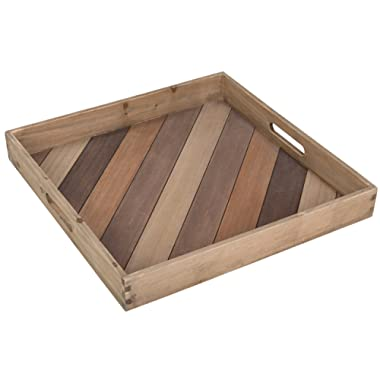 MyGift 18-Inch Square Multi-Color Wood Serving Tray with Handles
