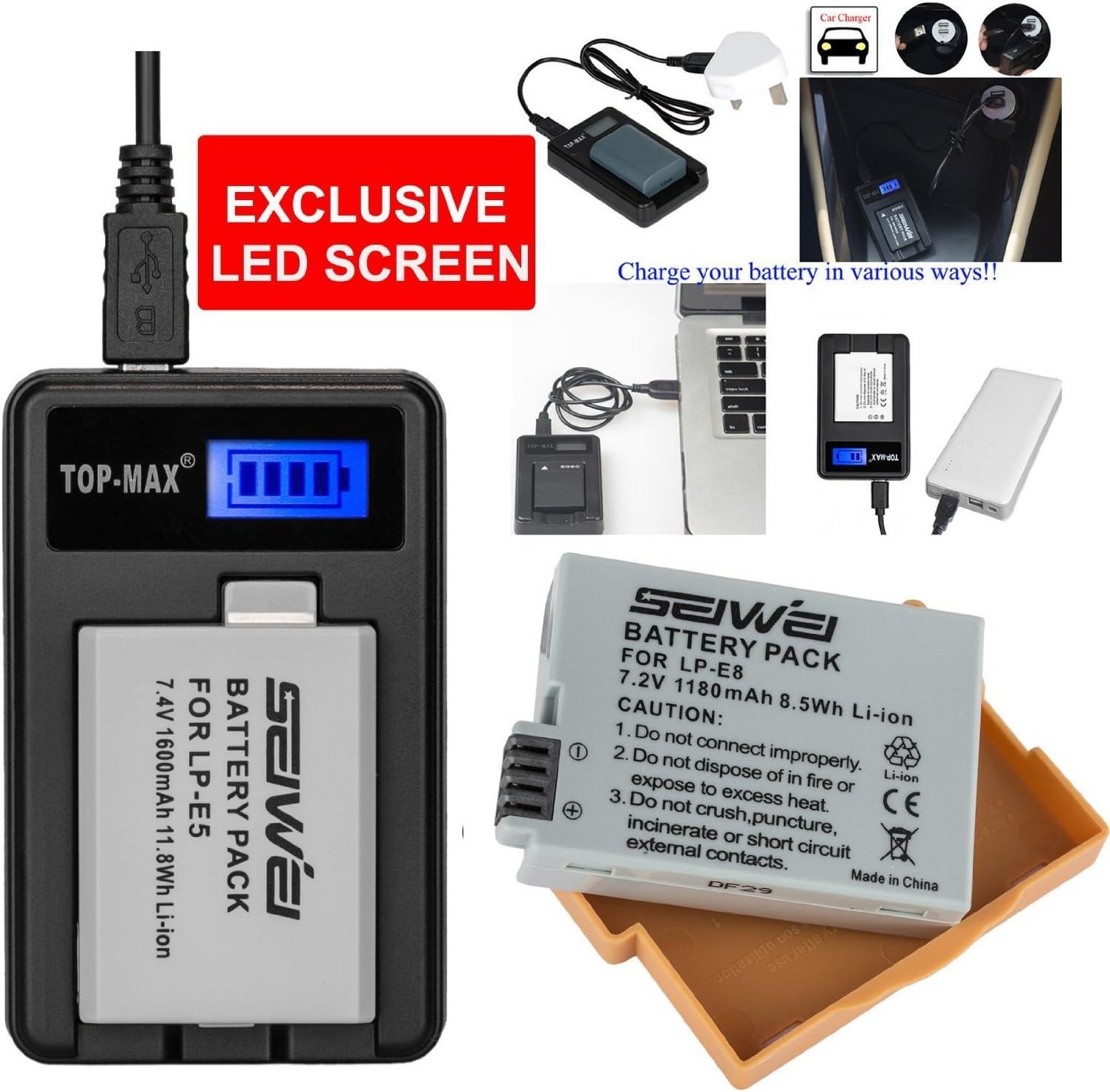 Top de Max? 3 x 4 x cámara battrie batería 1180 mAh 7.2 V para Canon LP-E8 LPE8 EOS 550d 600d X4 X5 T2i T3i: Amazon.es: Electrónica