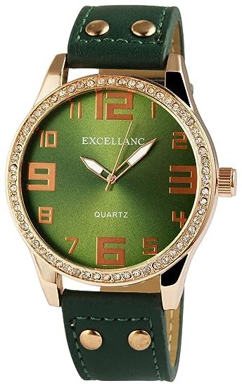 XXL Reloj Verde Oro analógico para mujer, diseño de piel Reloj de pulsera