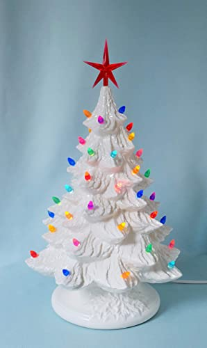 White Ceramic Christmas Tree Lighted With Multi Colored Lights 16 Inches Tall