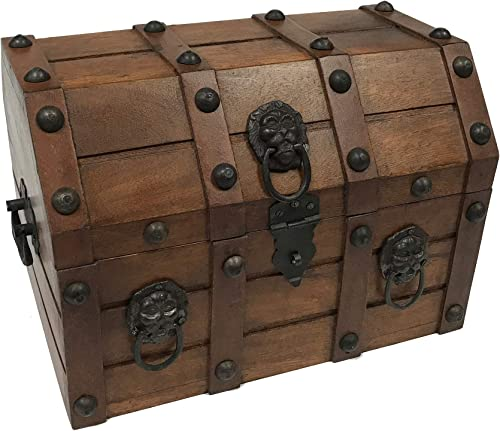 Wood Pirate Loot Treasure Chest Antique Vintage Storage Decorative Box