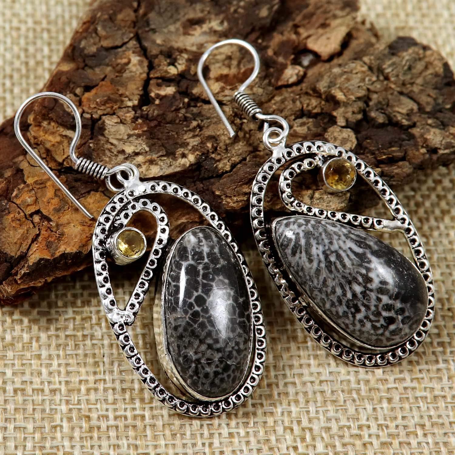 Goyal Crafts Stingray Fossil Coral Gemstone Earring Silver Plated Jewelry GEG87