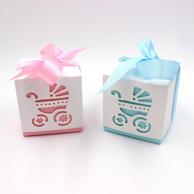 Caja de Dulces, Lance Home 50pcs Fiesta de Bienvenida al Bebé Cochecito Candy Cajas De Regalo Favores de la Boda, Azul: Amazon.es: Hogar