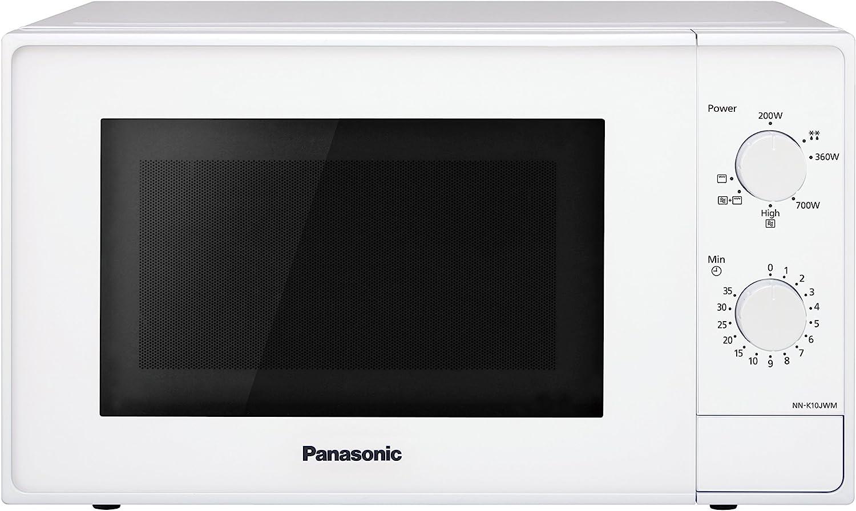 Panasonic NN-K10JWMEPG Microondas Compacto 20 L (800 W, 2 Mandos giratorios, Con Gratinador de Cuarzo 1.000W, Plato giratorio de vidrio 255mm, 5 Niveles de ajuste de potencia), Color Blanco