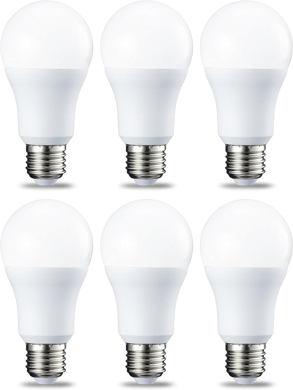 AmazonBasics Bombilla LED Esférica E27, 10W (equivalente a 75W), Blanco Frío - 6 unidades
