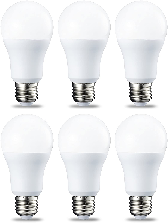 AmazonBasics Bombilla LED Esférica E27, 10.5W (equivalente a 75W), Blanco Cálido, Regulable - 6 unidades: Amazon.es: Iluminación