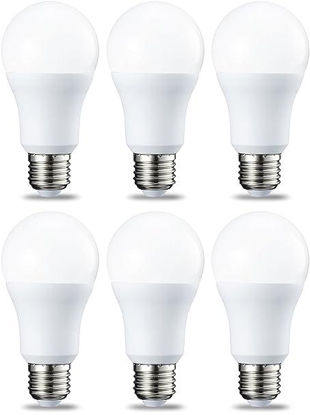 AmazonBasics Bombilla LED Esférica E27, 10.5W (equivalente a 75W), Blanco Cálido - 6 unidades: Amazon.es: Iluminación