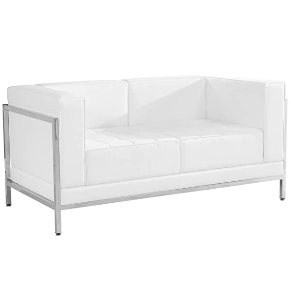 Flash Furniture HERCULES Imagination Series Contemporary Melrose White Leather Loveseat with Encasing Frame