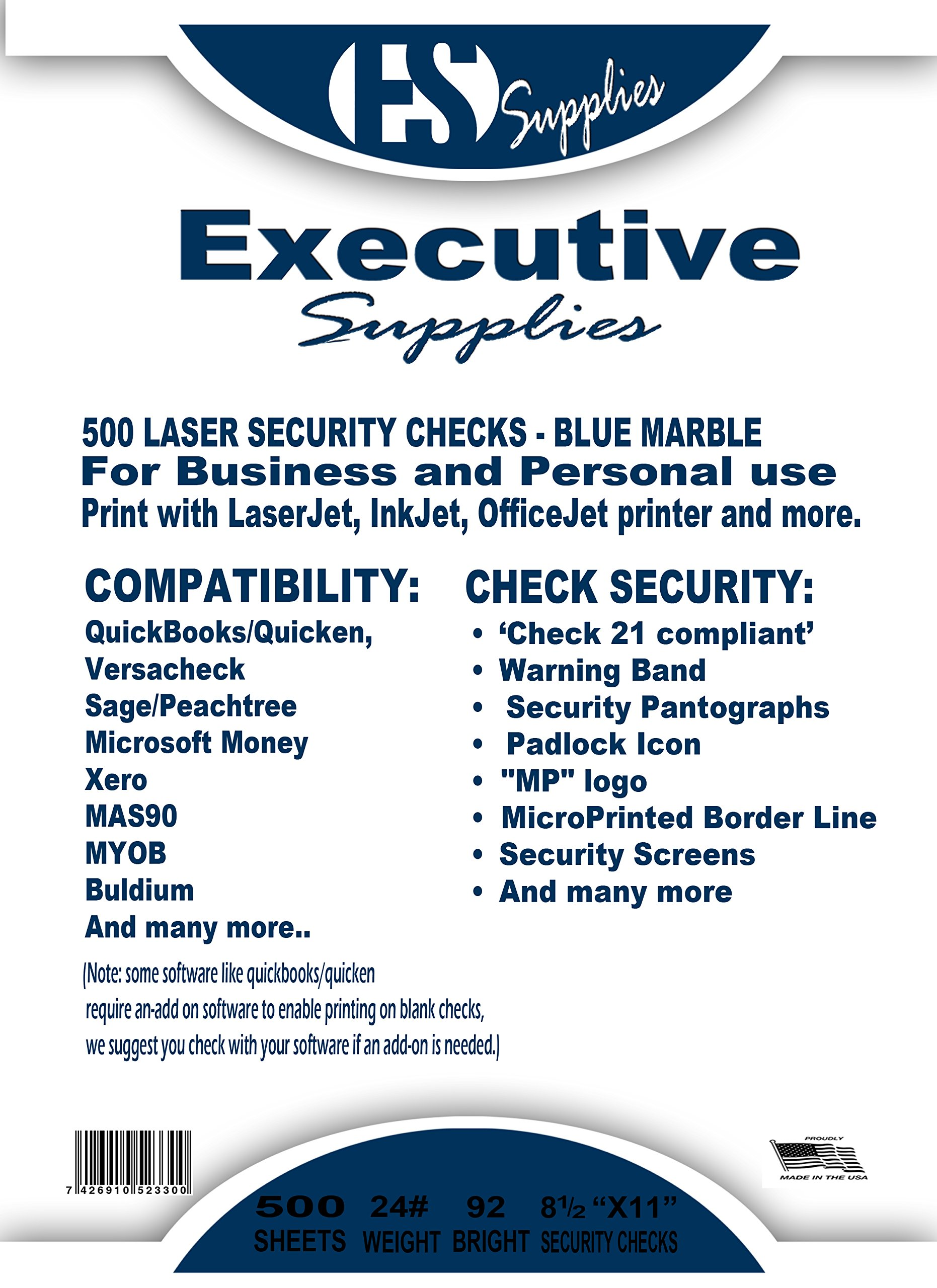 500 Blank Check Stock-Check on Top-Blue Marble Pattern-Compatible with Quickbooks,Quicken,Versacheck and More-(500 Laser Security Sheets-8.5''x11'' #24)-Made in USA with Pride! by Signature Forms (Image #2)