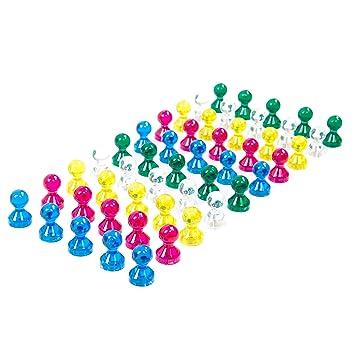 50 Transparentes coloridos Imanes para Pizarra - Broches ...