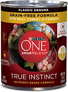 Purina ONE Grain Free, Natural Pate Wet Dog Food; SmartBlend True Instinct With Real Turkey & Venison - (12) 13 oz. Cans(Premium Pack)