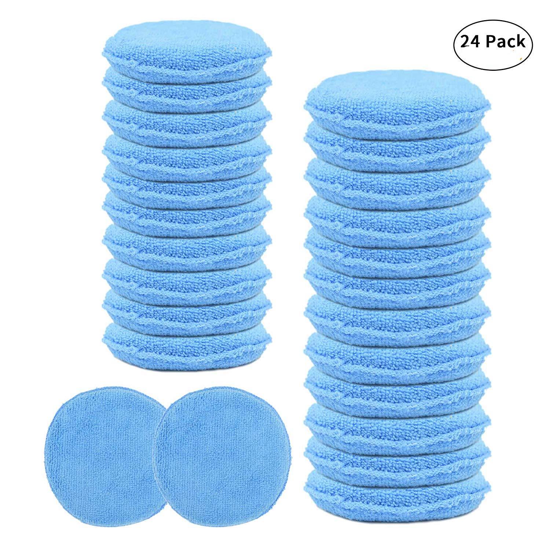 Amazon com carcarez wax hand polish microfiber applicator pad for automotive car blue 24 pack automotive