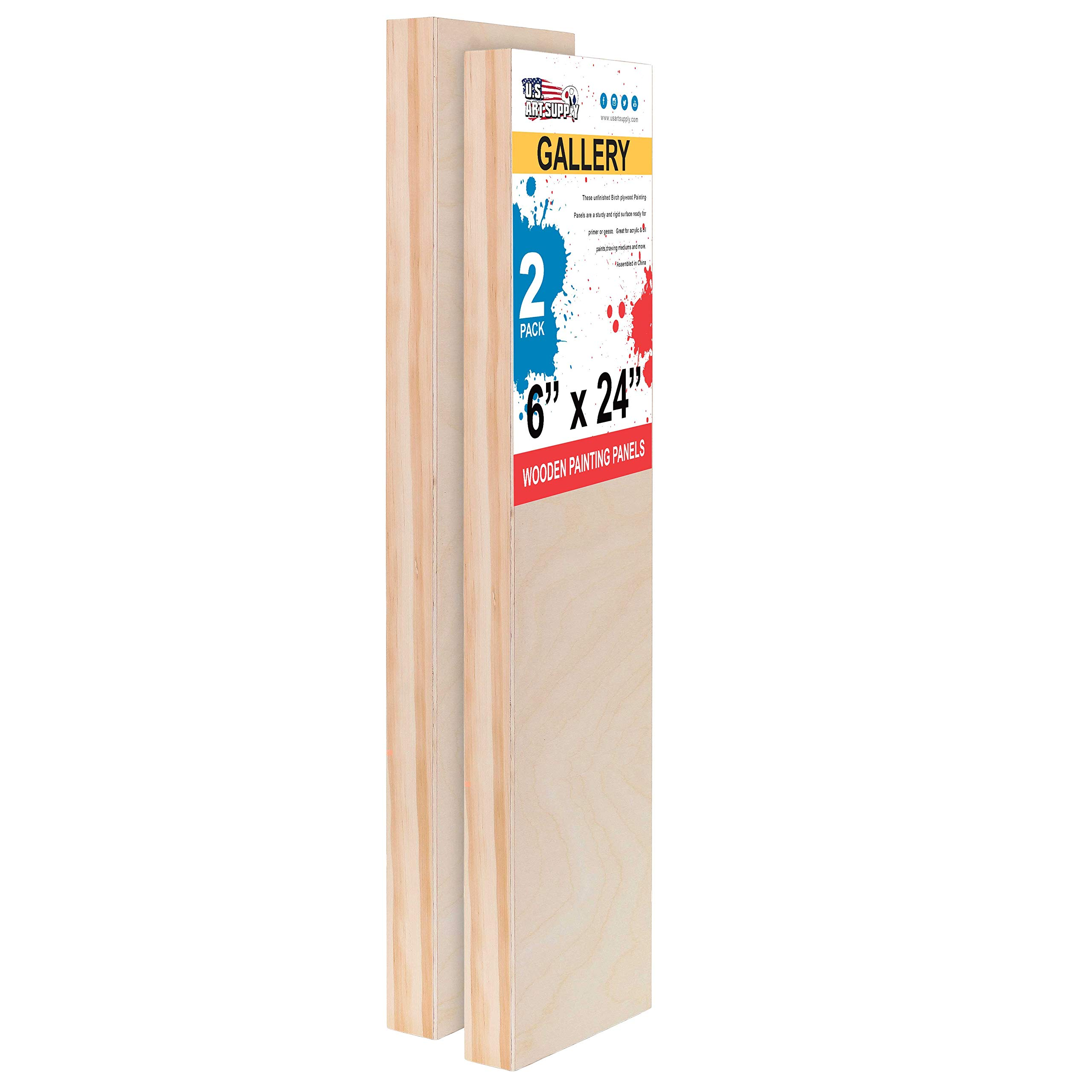 U.S. Art Supply 6'' x 24'' Birch Wood Paint Pouring Panel Boards, Gallery 1-1/2'' Deep Cradle (Pack of 2) - Artist Depth Wooden Wall Canvases - Painting Mixed-Media Craft, Acrylic, Oil, Encaustic by U.S. Art Supply