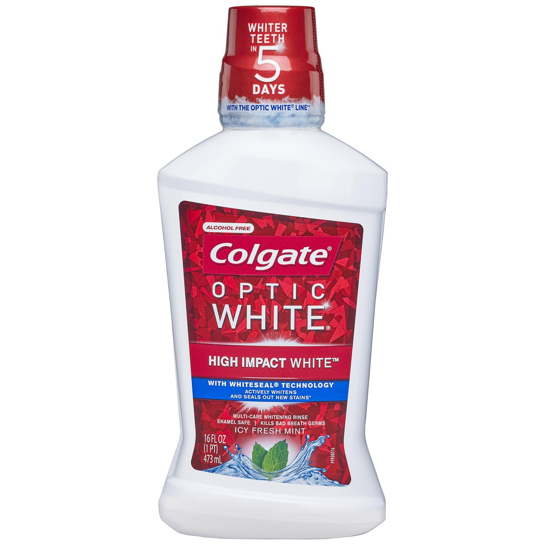 Colgate Optic White Whitening Mouthwash, Fresh Mint - 473 mL (6 Pack)