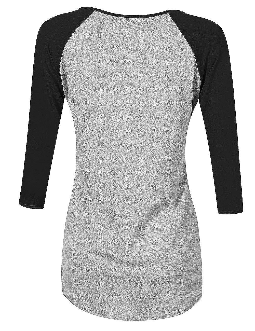 9f49e91056 Amazon.com: Leadingstar Womens Athletic V Neck Shirt 3/4 Contrast Raglan  Sleeve Raglan T Shirt Tops Grey+Black S: Clothing
