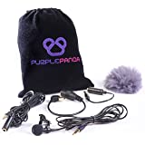 Purple Panda Lavalier Lapel Microphone Kit - Clip-on Omnidirectional Condenser Lav Mic Compatible with iPhone, iPad, GoPro, D