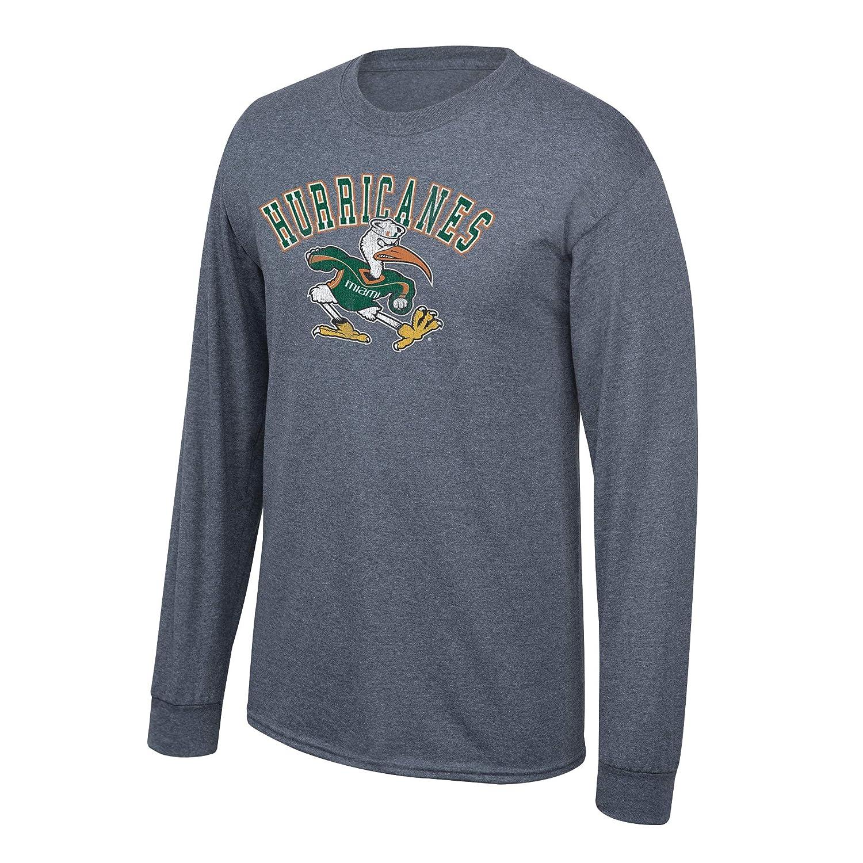 Elite Fan Shop NCAA Mens Miami Hurricanes Long Sleeve T Shirt Charcoal Vintage Miami Hurricanes Charcoal Small