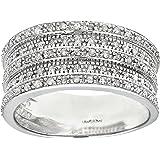Naava 9ct White Gold 0.50ct Multi Row Diamond Half Eternity Ring