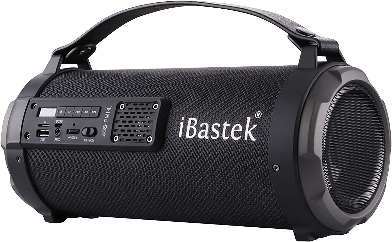 iBastek 40S-PMHL Portable Bluetooth Bazookas Speaker with Built-in FM Radio USB AUX Inputs in Black SD Card