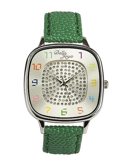 Bella joya Mujer Reloj Capri, correa de piel auténtica verde