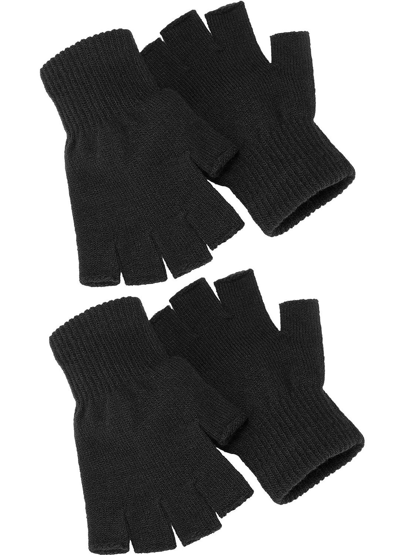 2 Paar Unisex Halbe Fingerhandschuhe Winter stretchy Stricken Fingerlose Handschuhe in Gemeinsamen Gr/ö/ße