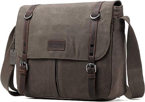 Troop London Heritage Canvas Leather Messenger Bag