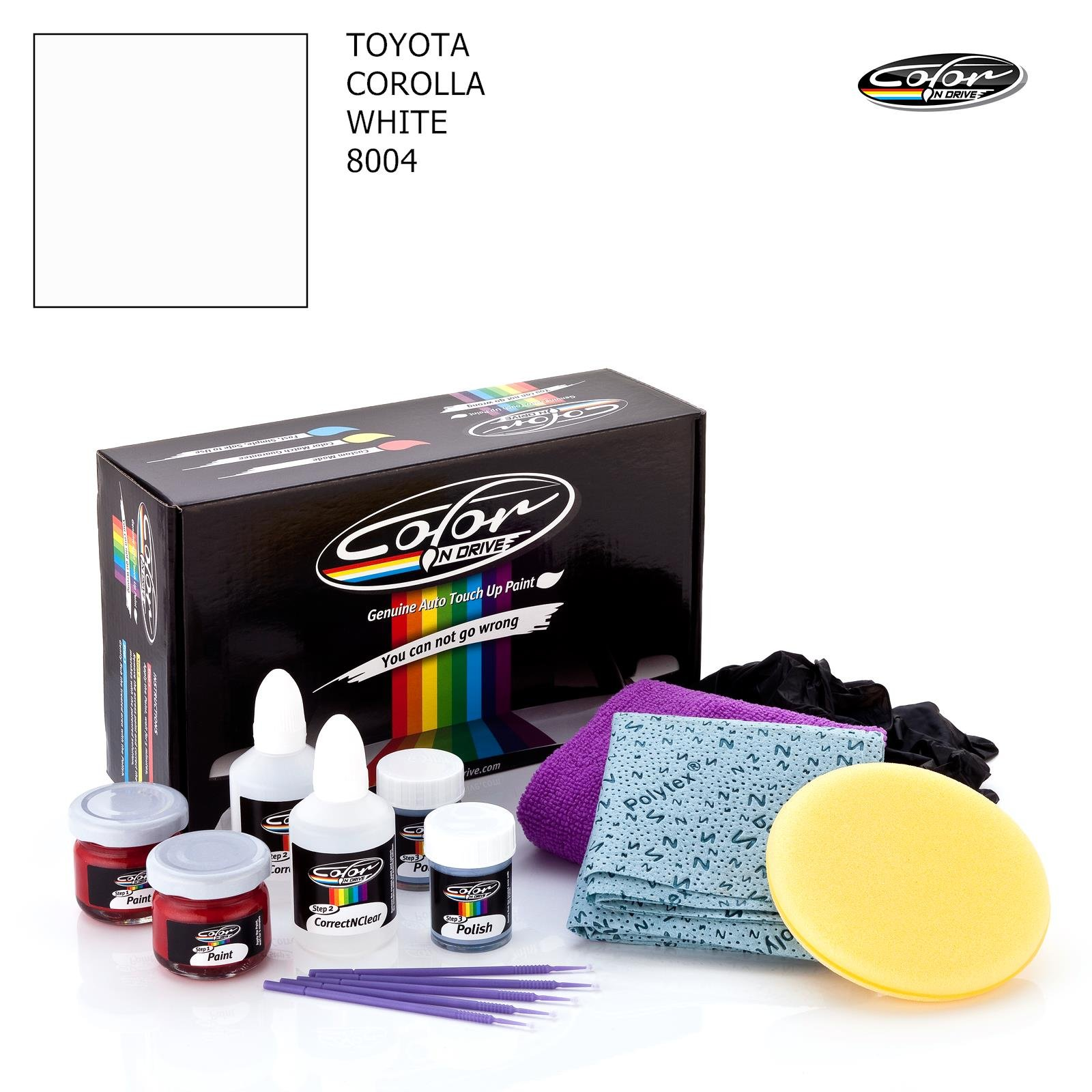 TOYOTA Corolla/White - 8004 / Color N Drive Touch UP Paint System for Paint Chips and Scratches/Plus Pack
