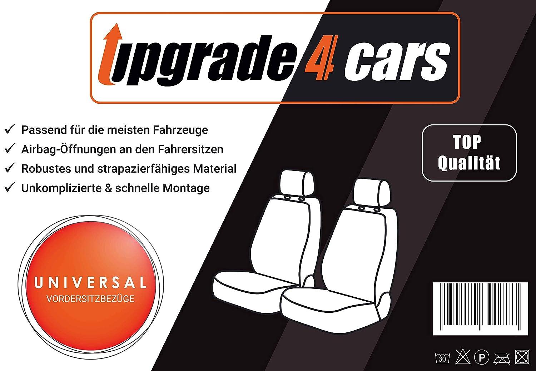 Upgrade4cars Fundas Asientos Delanteros Coche Universales Negro Protector de Asiento Delantero para Conductor y Copiloto Accesorios Interior para Mujer y Hombre