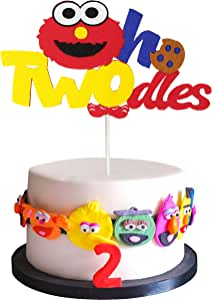 PANTIDE Sesame Inspired Two Birthday Cake Topper, Oh Twodles 2nd Birthday Cake Topper Sesame Party Decoration Party Supplies Elmo Cake Topper Cookie Monster Cake Decoration for Boys and Girls