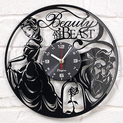 Art Wall Clock   Amazon Com Beauty And The Beast Vinyl Wall Clock Disney Vinyl Art