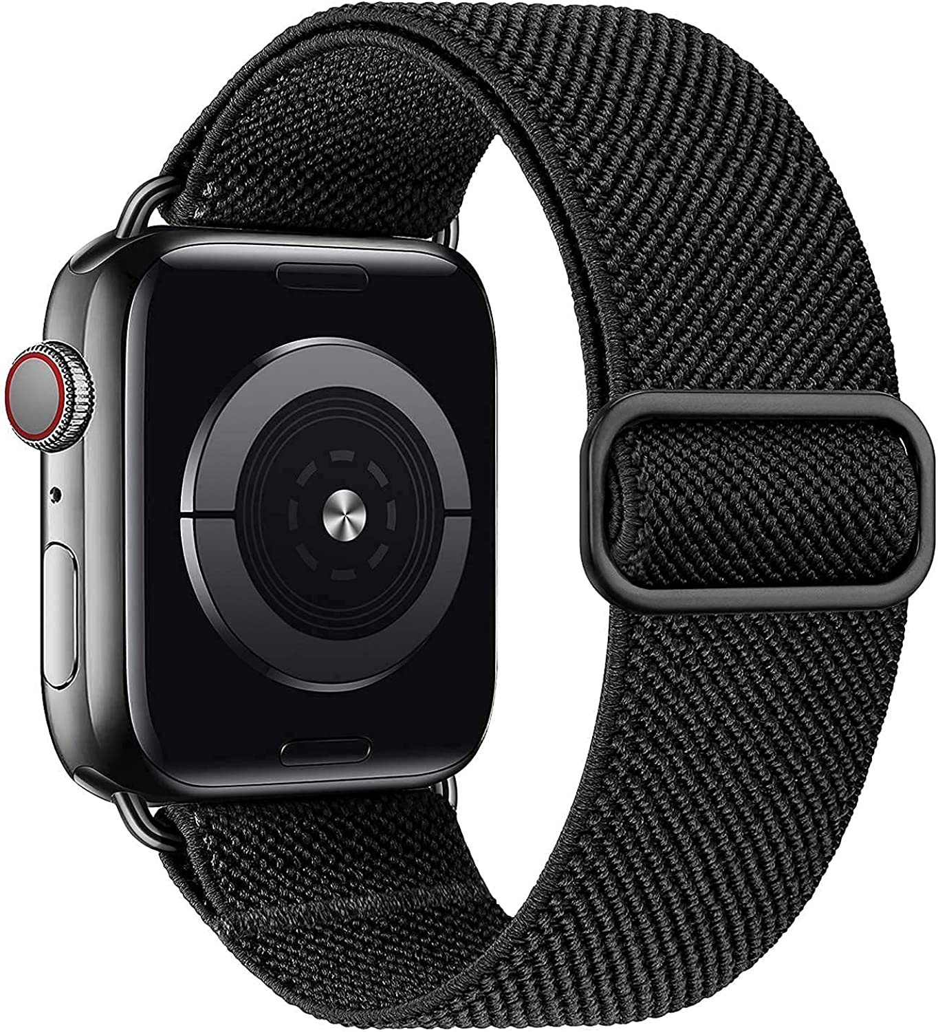 MEULOT Stretchy Braided Solo Loop Band Compatible with Apple Watch Band 42mm 44mm Adjustable Nylon Elastic Sport Women Men Strap Compatible with iWatch Series 6/5/4/3/2/1 SE Black 42/44S