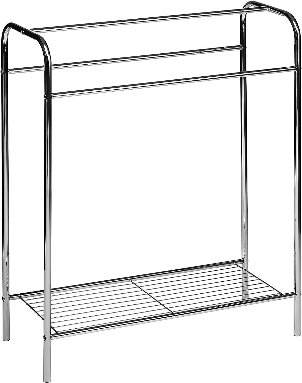 Premier Housewares Chrome Floor Standing Towel Stand - Silver