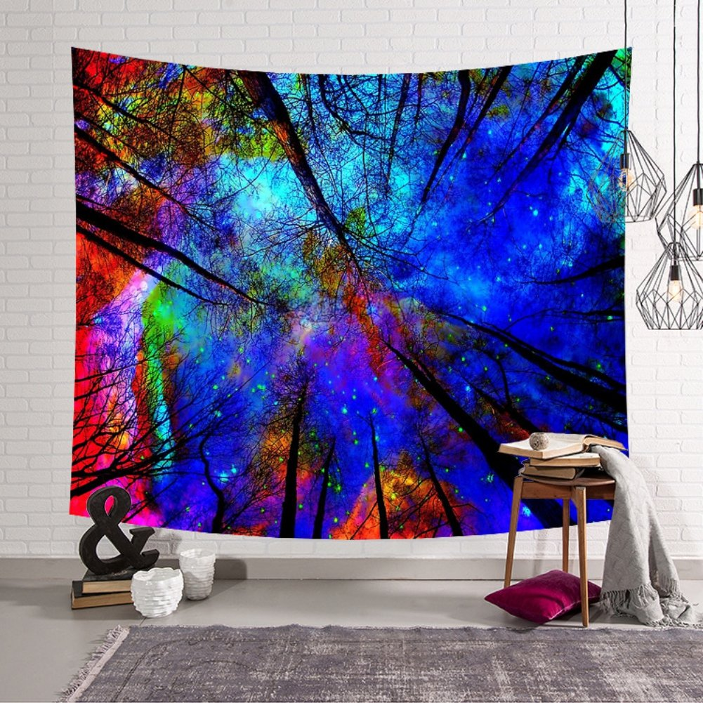 Kiber Wall Tapestry Forest Tree Starry Tapestry Blue Purple Yellow Wall Decor Hippie Tapestries Bohemian Mandala Tapestry Wall Hanging Throw Bedroom Living Room Dorm