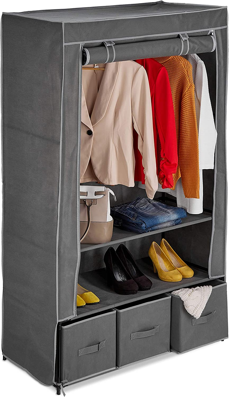Relaxdays Tela con Barra, 3 cajones y 2 estantes, 160 x 95 x 45 cm, Armario Plegable con Funda, Color Antracita, 160x95x45 cm