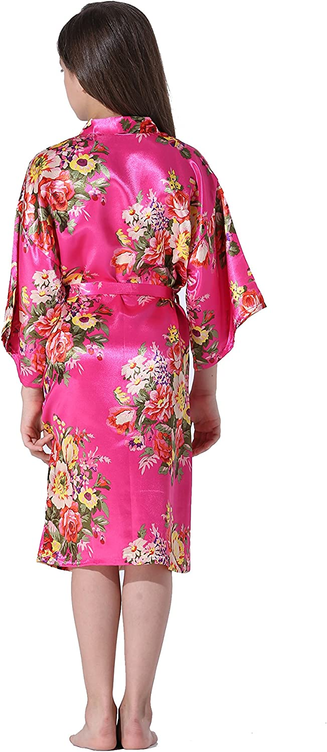 Vogue Forefront Girls Floral Print Satin Kimono Robe Bathrobe