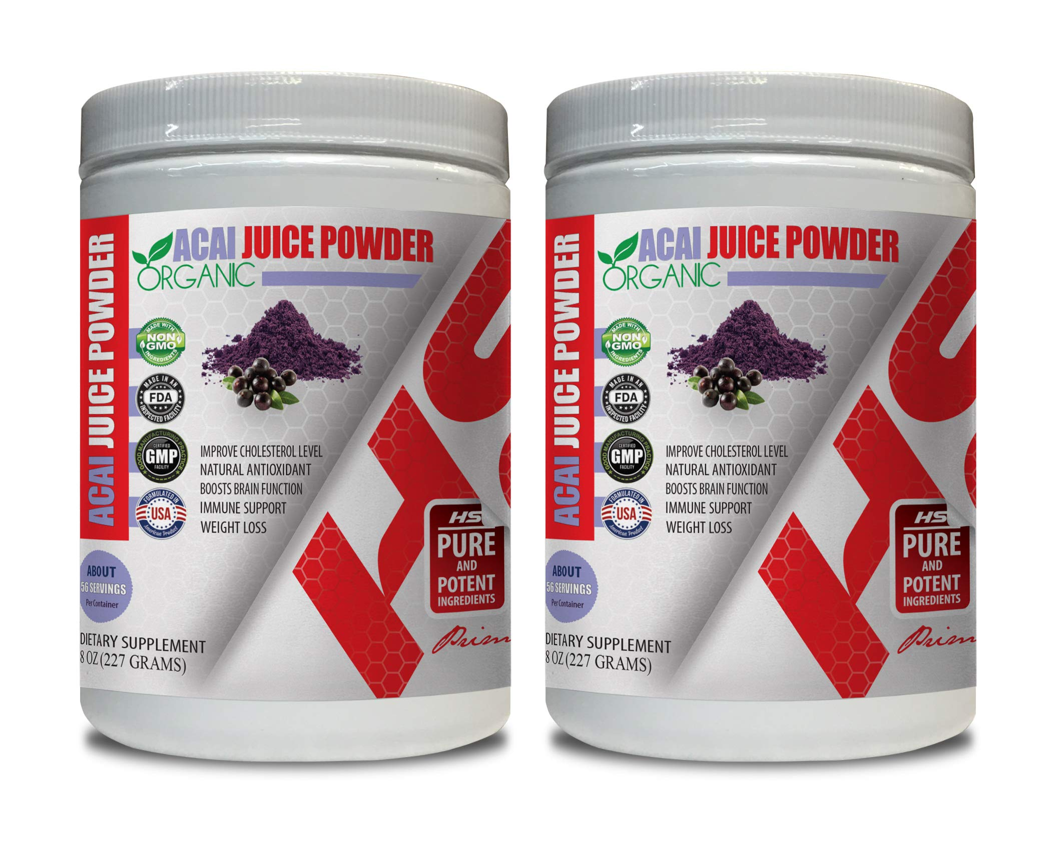 Immune Supplement for Adults - ACAI Juice Powder Organic - Natural ANTIOXIDANT - acai Weight Loss Product - 2 Cans 16 OZ (130 Servings)