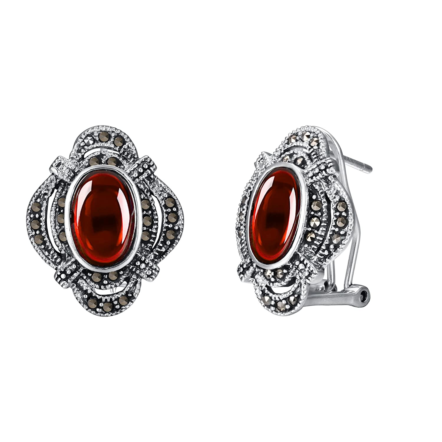 Vintage Style Jewelry, Retro Jewelry EVER FAITH Womens 925 Sterling Silver Oval Corundum Crystal Vintage Style Flower Stud Earrings $29.99 AT vintagedancer.com
