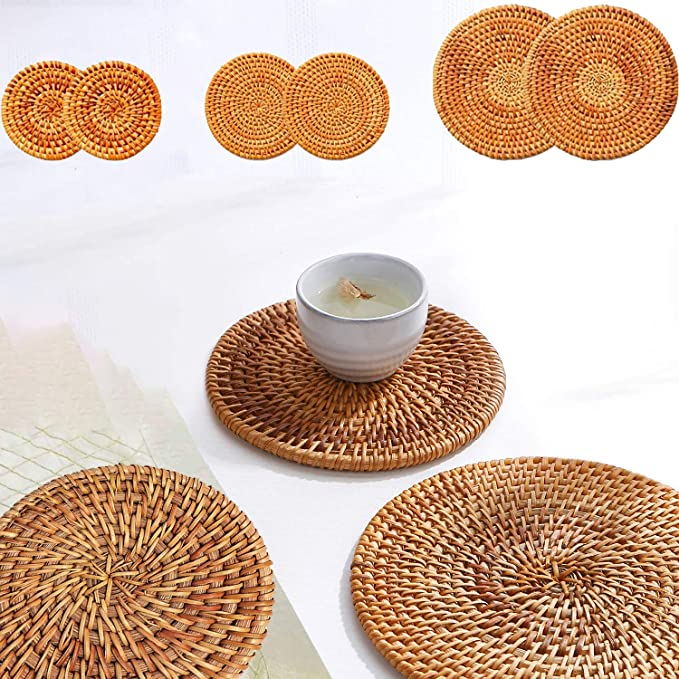 1 X Woven Wicker Coaster Tea Pot Cup Pan Pad Trivet Placemat Table Mat Kitchen