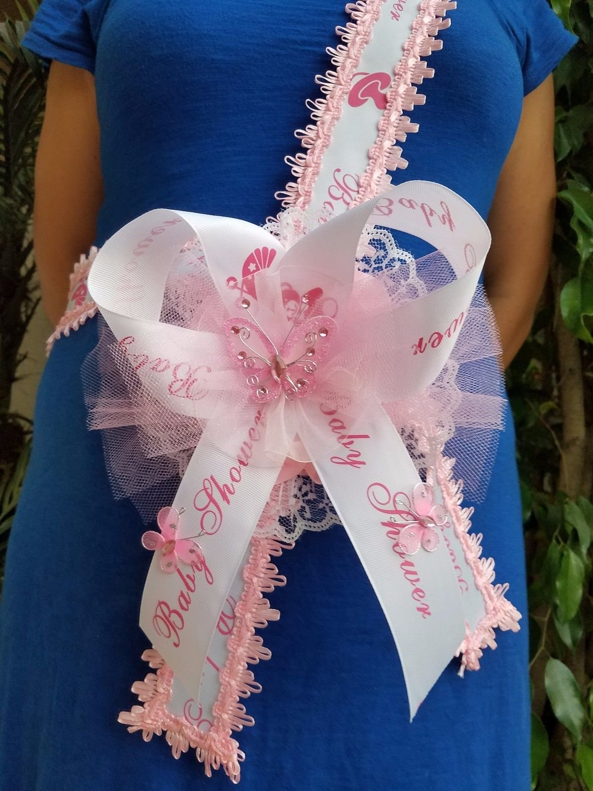 Baby Shower Mom To Be It's a Girl Sash Pink With Butterflies Ribbon and Corsage by PRODUCT 789 (Image #1)