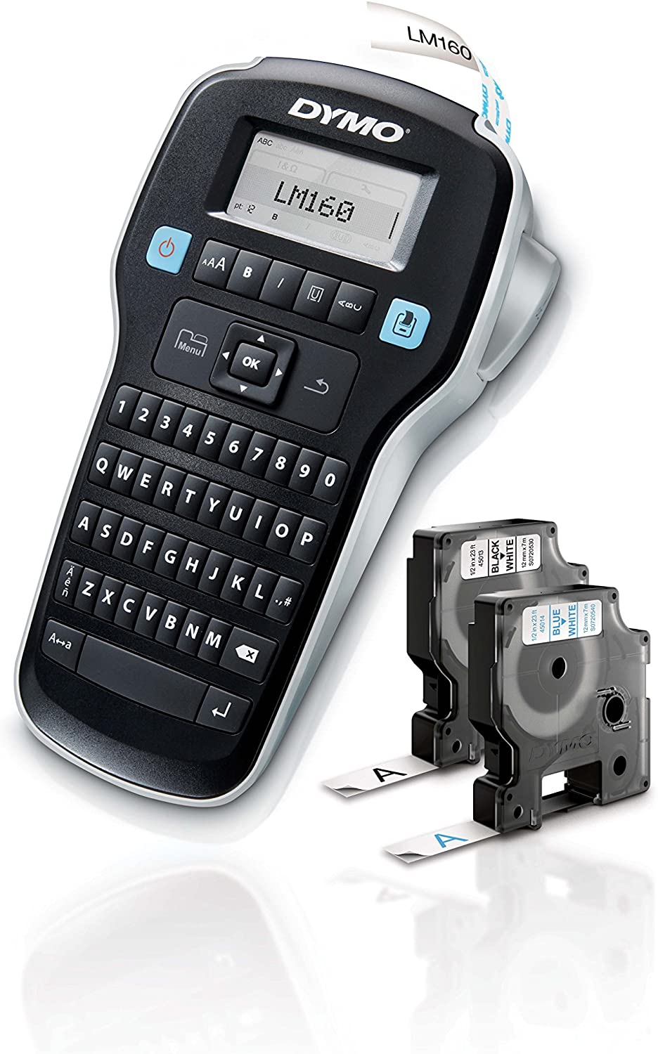 DYMO Label Maker with 2 D1 DYMO Label Tapes | LabelManager 160 Portable Label Maker, QWERTY Keyboard, One-Touch Smart Keys, Easy-to-Use, For Home & Office Organization : Office Products