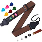Aneco Guitar Strap Soft Adjustable Guitar Shoulder Strap With Guitar Strap Lock Guitar Buttons and Colorful Guitar Picks, 12 Pieces (Dark brown)